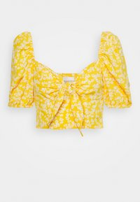 Glamorous - CARE FLORAL PRINTED TIE FRONT CROP - Bluser - yellow - 0