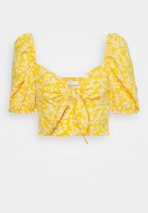 CARE FLORAL PRINTED TIE FRONT CROP - Bluser - yellow
