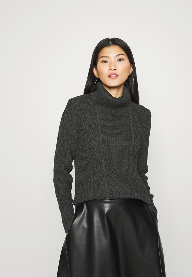 CABLE T NECK - Strickpullover - charcoal