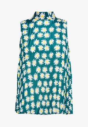UDELLA RAKASTAA EI RAKASTA TUNIC - Blouse - green/off-white/yellow
