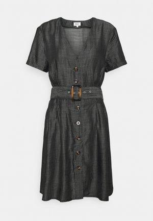 ONLMARY BUCKLE BELT DRESS - Denim dress - black