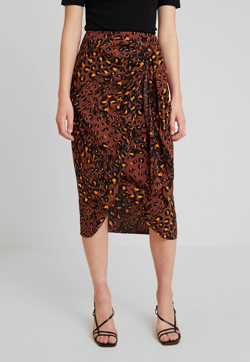 Whistles - BRUSHED LEOPARD SARONG SKIRT - Pouzdrová sukně - brown/multi