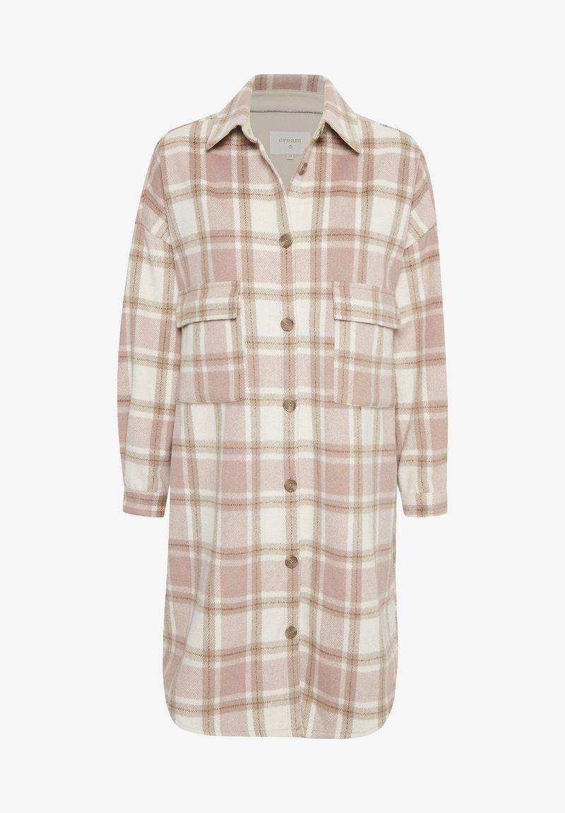 Cream - Classic coat - lilac check
