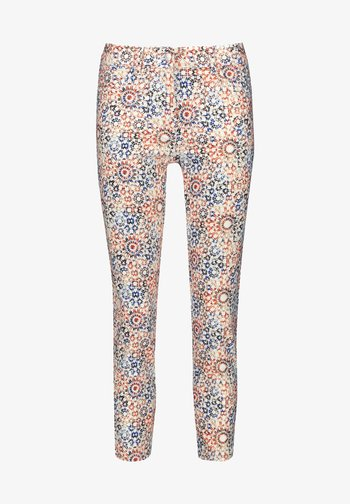 Slim fit jeans - rot/orange/blau druck