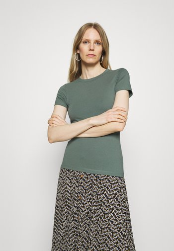 2 PACK - T-shirts - light green/mottled grey