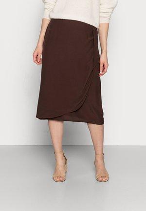 SKIRT WITH WRAP DETAIL - Wrap skirt - espresso