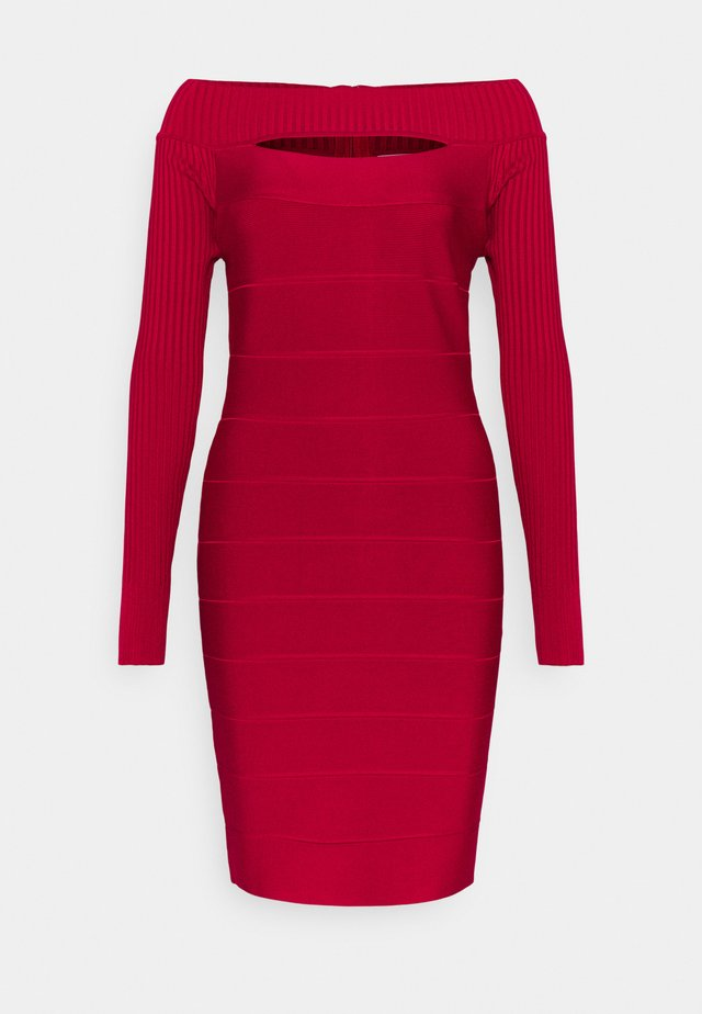 BANDAGE CUTOUT BOAT NECK MINI DRESS - Shift dress - dark crimson
