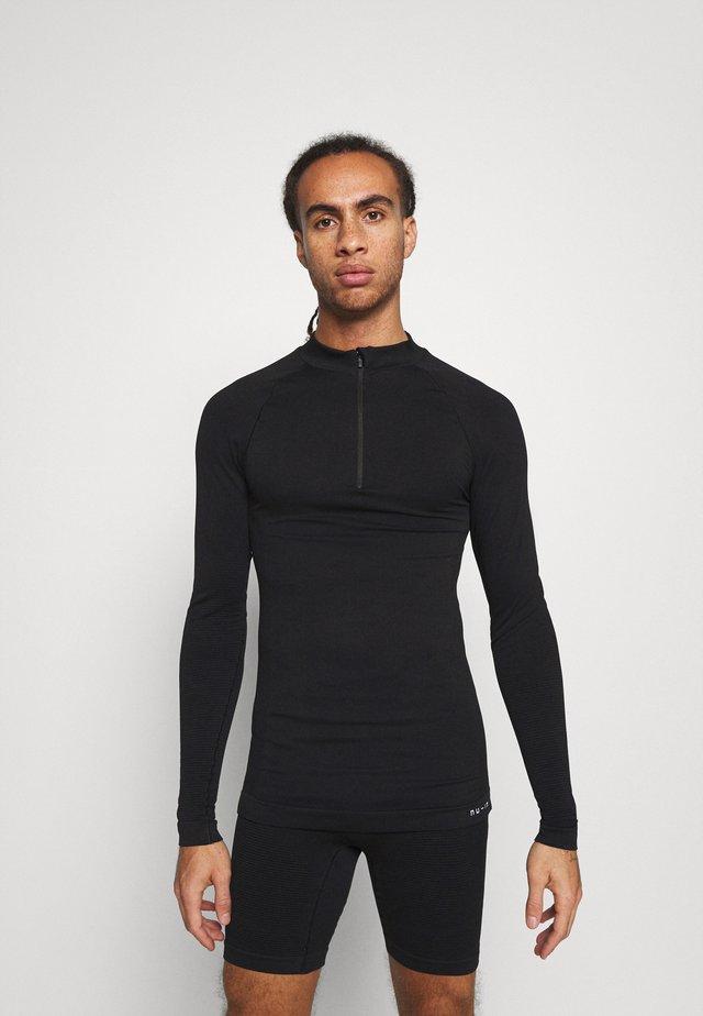 HALF ZIP LONG SLEEVE  - Long sleeved top - black