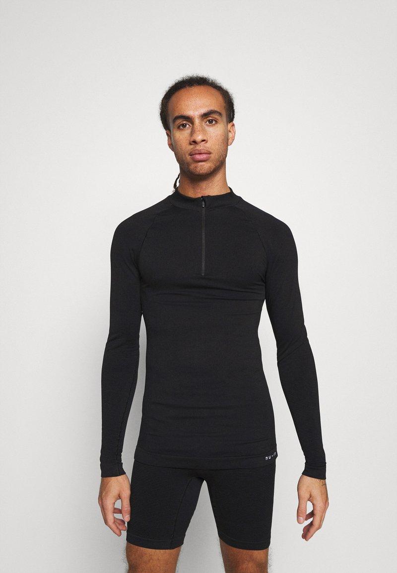 NU-IN - HALF ZIP LONG SLEEVE  - Long sleeved top - black