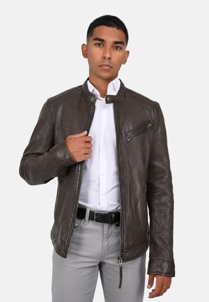 STEEVE - Leather jacket - light brown