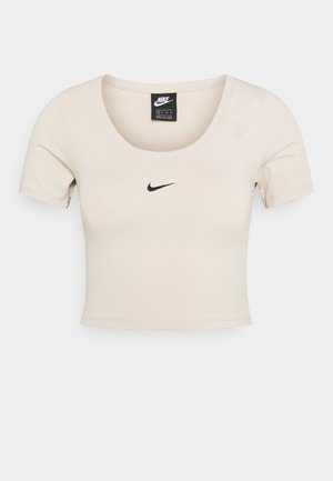 CROP - T-shirt imprimé - oatmeal/black