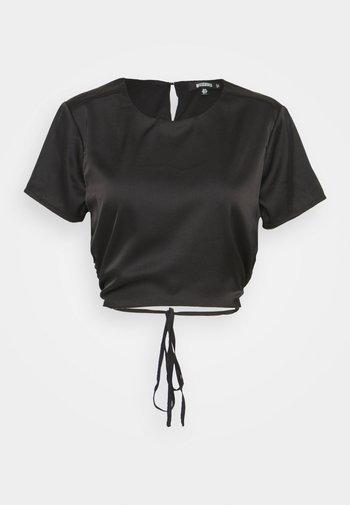 CUT OUT BACK TIE CROP - Print T-shirt - black