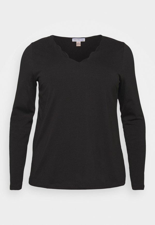 SCALLOP HEM long sleeve T-shirt - Topper langermet - black