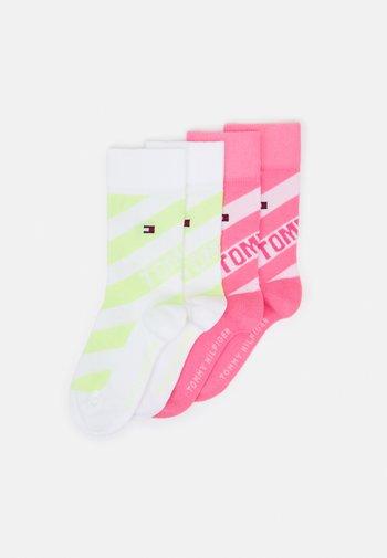 KIDS SOCK DIAGONAL STRIPE 4 PACK UNISEX - Socks - pink