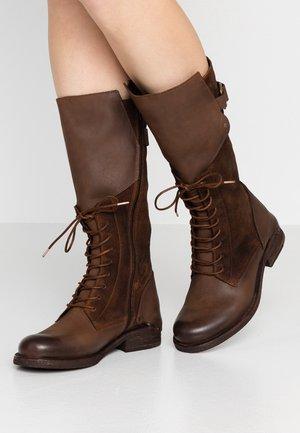 VERDY - Šněrovací vysoké boty - castagno/testa di moro