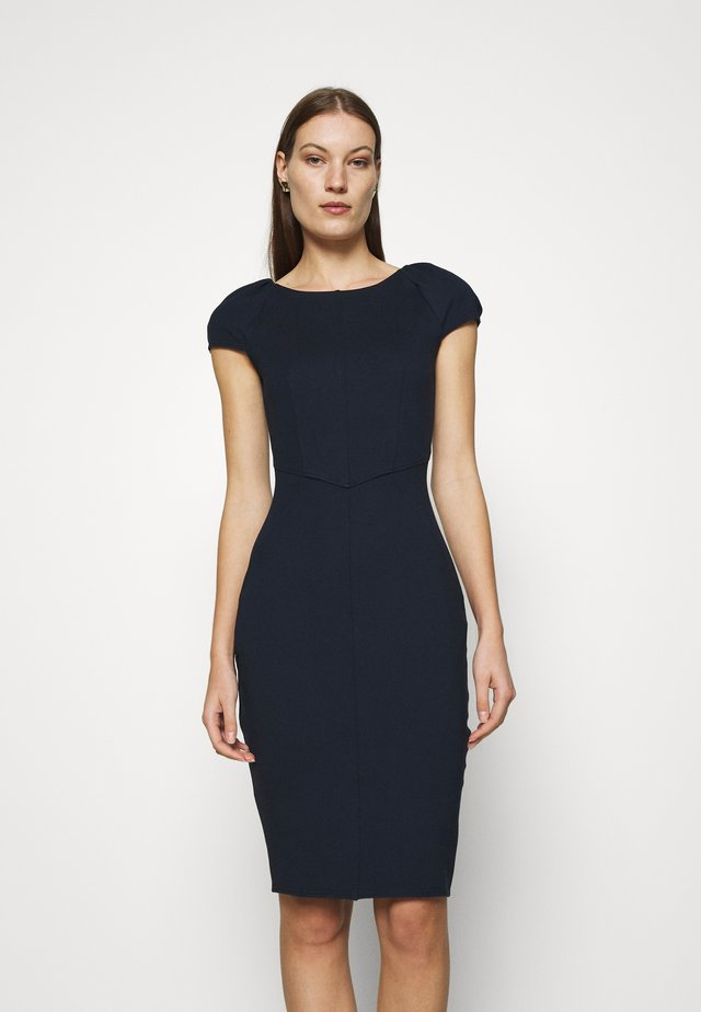GATHERED SLEEVE PANEL DRESS - Cocktailklänning - navy