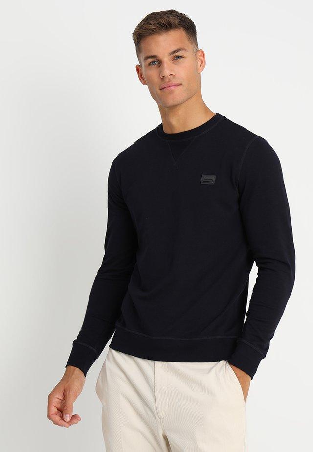 FELPA GIROCOLLO BASIC CON PLACCHETTA - Sweatshirt - blu notte