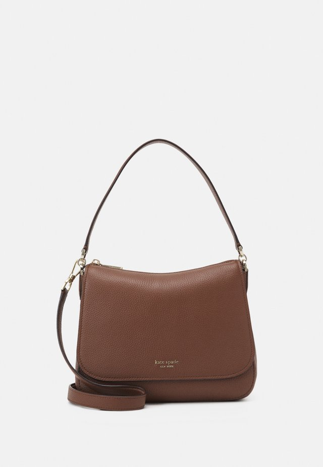 FLAP SHOULDER BAG - Handväska - hazelnut