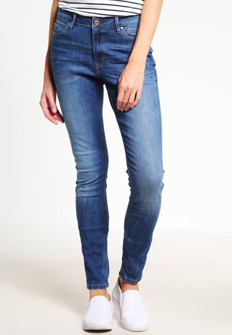 edc by Esprit - HIGH SKIN PANTS DENIM - Slim fit jeans - blue denim