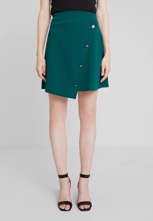 BUTTON WRAP SKIRT - A-Linien-Rock - green
