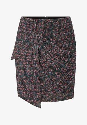 MIT BLUMENMUSTER - Wrap skirt - schwarz