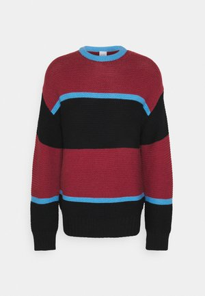 GENTS CREW NECK - Strickpullover - dark red/black/blue