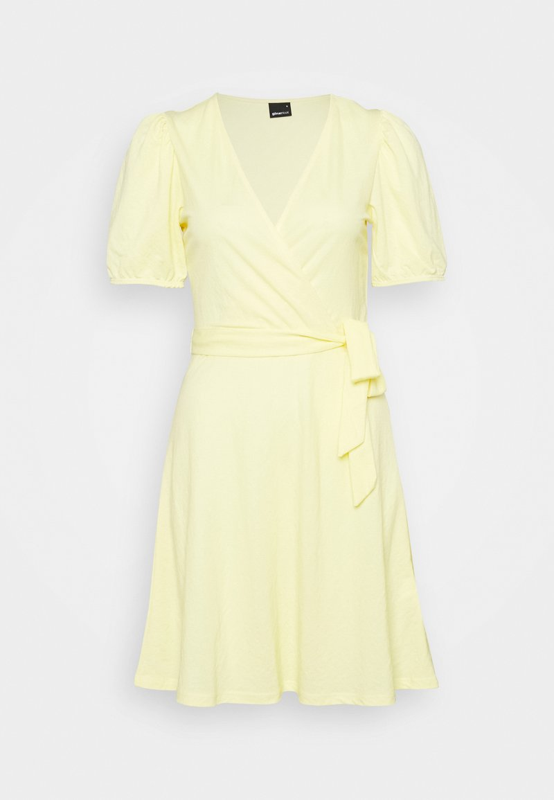 Gina Tricot - WANJA WRAP DRESS - Jerseykjole - lemon meringe