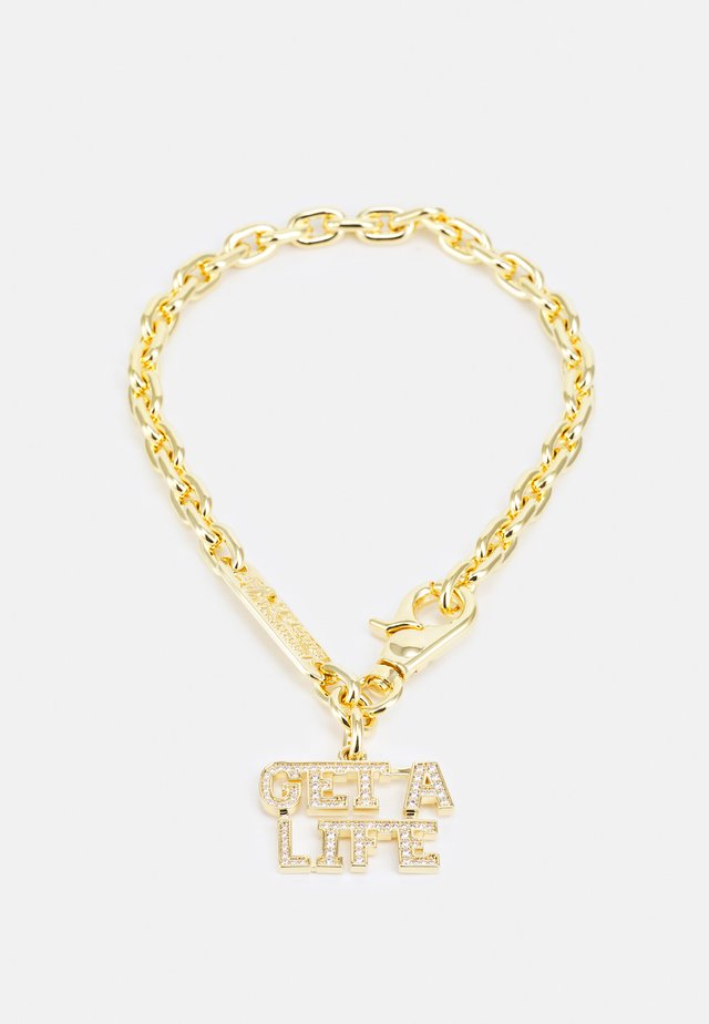 GET A LIFE LARGE PENDANT - Necklace - gold-coloured/white