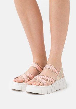 TRINITARIA - Platform sandals - citrus/taupe