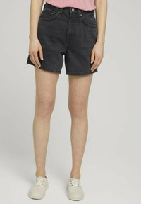 TOM TAILOR DENIM - Denim shorts - dark stone black black denim - 0