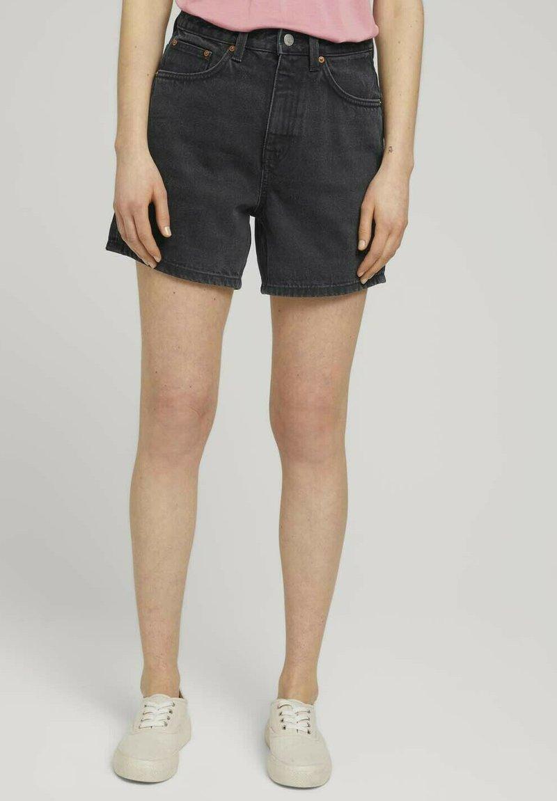 TOM TAILOR DENIM - Denim shorts - dark stone black black denim