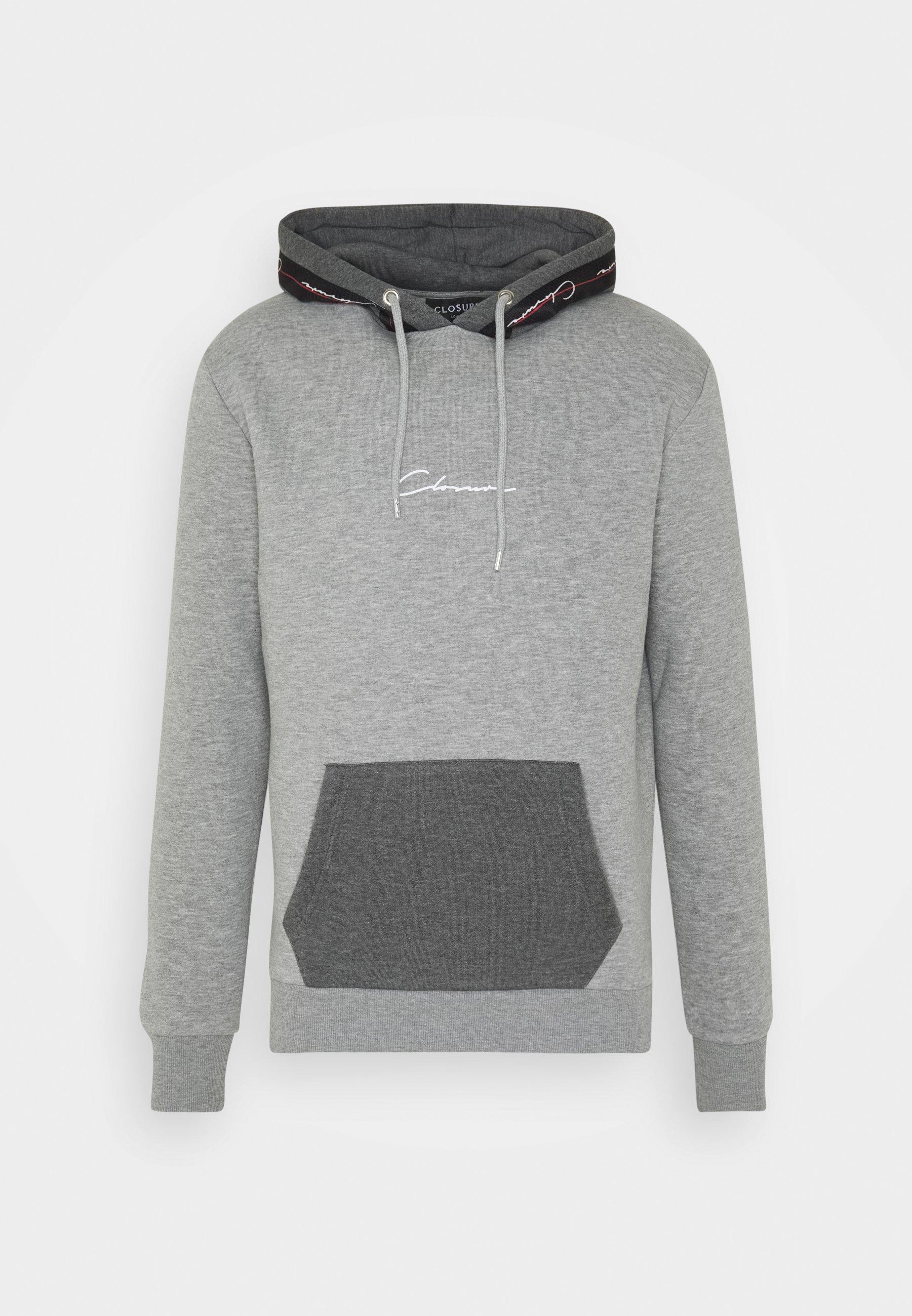 Closure London Contrast Hood With Taping - Hoodie Grey/grå
