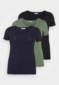 Anna Field Curvy - 3er PACK  - T-shirts - blue/green/black - 0