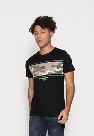 JJSOLDIER BLOCKTEE CREW NECK - T-shirt med print - black