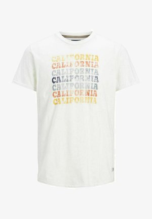 JPRBLUHUBERT TEE CREW NECK - T-shirt imprimé - cloud dancer