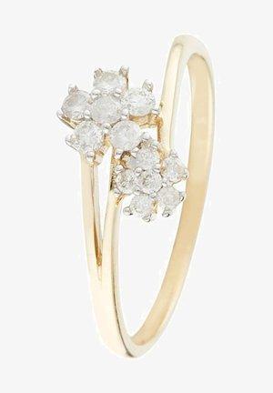 9K YELLOW GOLD RING CERTIFIED 12 DIAMONDS HP1 0.221 CT - Ring - yellow