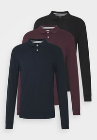 Pier One - 3 PACK - Polo shirt - bordeaux /dark blue/black - 0