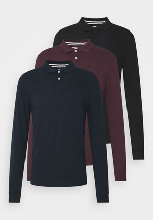 3 PACK - Polo shirt - bordeaux /dark blue/black