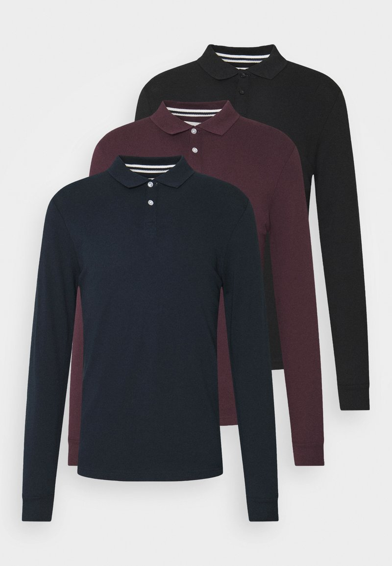 Pier One - 3 PACK - Polo shirt - bordeaux /dark blue/black