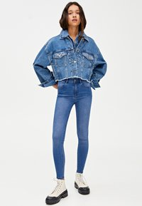 PULL&BEAR - MIT HALBHOHEM BUND - Jeans Skinny Fit - dark blue - 1