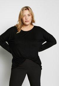 Dorothy Perkins Curve - BATWING SLEEVE DETAIL TEE - Langærmede T-shirts - black - 0