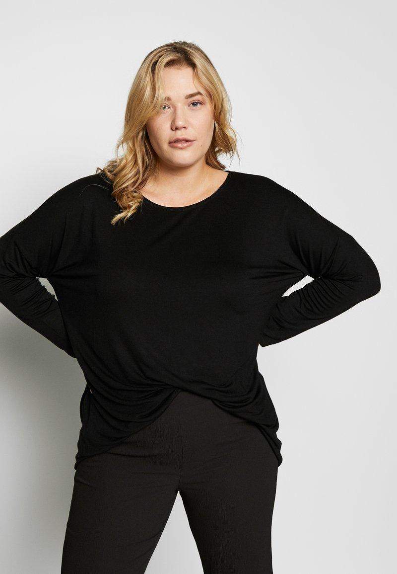 Dorothy Perkins Curve - BATWING SLEEVE DETAIL TEE - Langærmede T-shirts - black