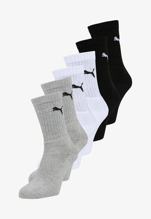 6 PACK - Sports socks - black/white/grey