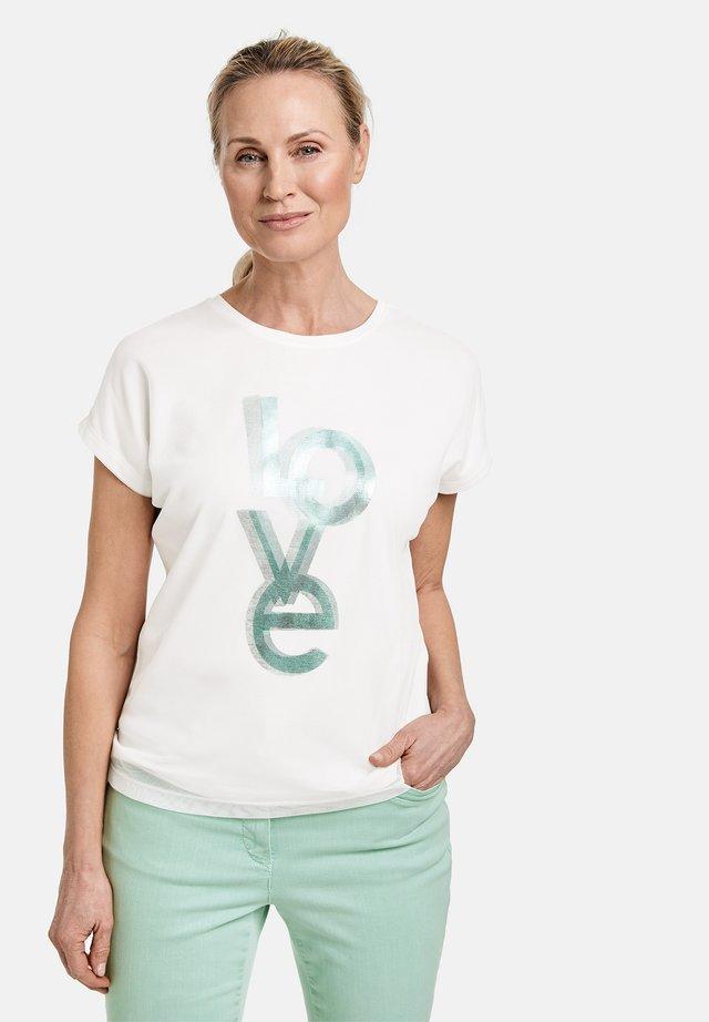 T-shirt print - off white/ aloe
