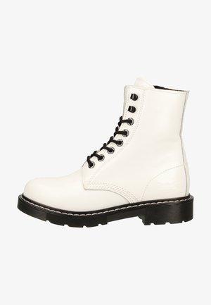 Platform ankle boots - weiss/schwarz