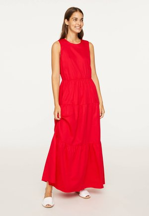 LANGES KLEID AUS BAUMWOLLE MIT VOLANTS 31991115 - Maxi dress - red