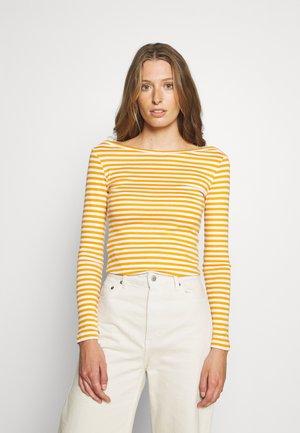 Long sleeved top - dark yellow/white