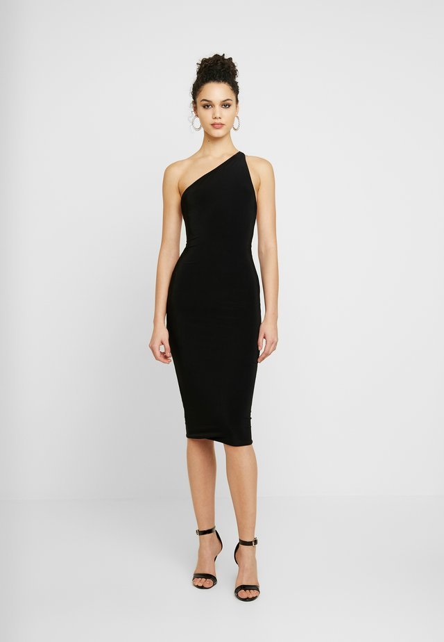 ONE SHOULDER RUCHED BUM MIDI DRESS - Cocktail dress / Party dress - black