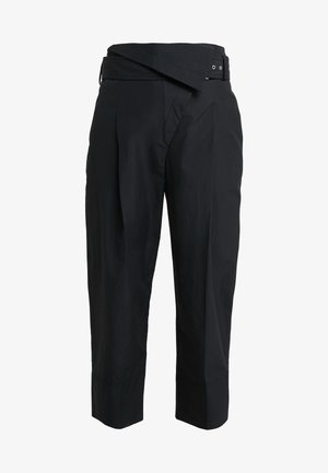 BELTED OVERLAP TROUSER - Trousers - black