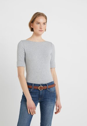 JUDY ELBOW SLEEVE - Print T-shirt - pearl grey heather
